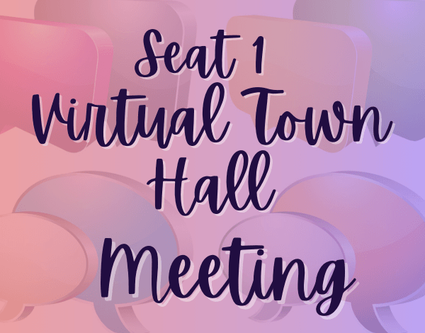 Flyer for Seat 1 Town Hall